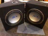 2 x Alpine Type S Subs (Subwoofer), 2 x Fusion Amps (Amplifier) and Vibe Power Cap