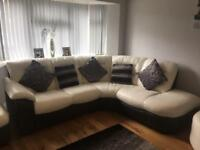 White leather DFS corner sofa, electric recliner chair, large circle poof and storage poof.