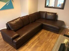 Brown faux leather L shape couch