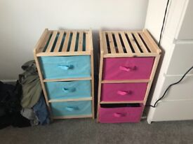 4 drawer pink and blue pair Wooden frame