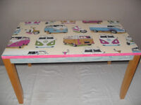 PINE COFFEE TABLE WITH VW DESIGN DECOUPAGED ON TOP & PINK & BLUE COLOUR WASHED ON SIDES