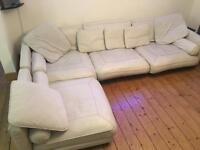 Off White leather corner sofa