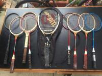 Collection of 9 vintage Tennis Racquets and Badminton Racquets in good condition.