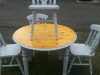 Pine dining set drop leaf 4x chairs
