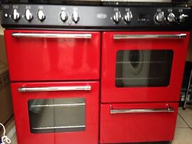 Belling Red Range Cooker with chimney extractor