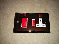 Volex polished chrome 45A cooker switch with socket