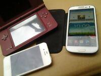 Samsung galaxy S3, iPhone 4S, Nintendo DSI XL all working