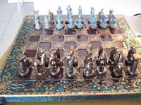 Greek mythology chessboard and pieces