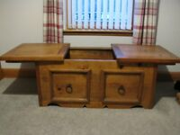 Large Solid Oak chest with sliding top