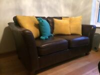 Brown leather M&S 2 seater sofas