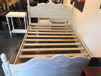 Shabby chic French style solid pine double bed