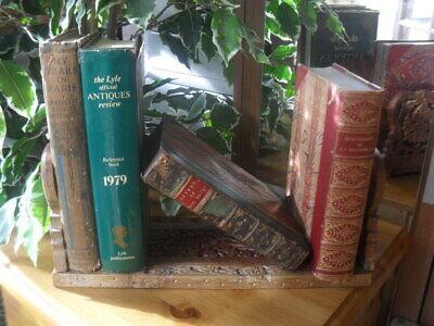 Vtge Table Folding Carved Wood Sliding Folding Book Shelf Extends 13