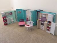 Barbie House with beauty bench, table & chairs, cups, plates, cutlery and food.