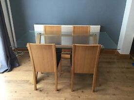 Hygena glass top dining table with 4 chairs