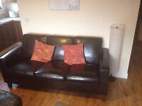 Triple black leather Sofa