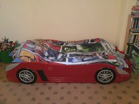 Kids wooden single racing car bed