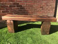 Handmade chunky reclaimed timber bench