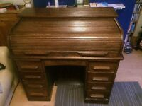 Solid Oak Rolltop Writing Desk