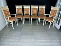 CLASSIC ITALIAN EXTENDABLE DINING TABLE AND 6 CHAIRS GLOSSY DINING SET