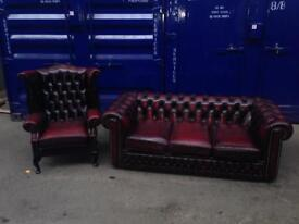 🎉 🔥 Immaculate chesterfield suite leather wingback Queen Anne chair & sofa