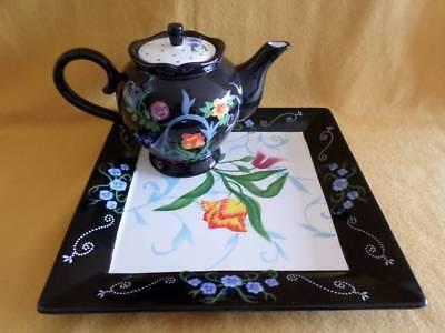 2 PIECE TEA POT & SERVING PLATTER BELLA CASA BY GANZ BLACK W/ORANGE FLORAL EXC.