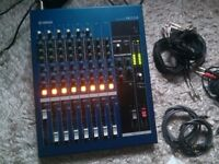 YAMAHA MG12/4 audio mixer with cables, jacks and adapters