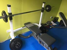 Olympic bar, weights, stand and bench.