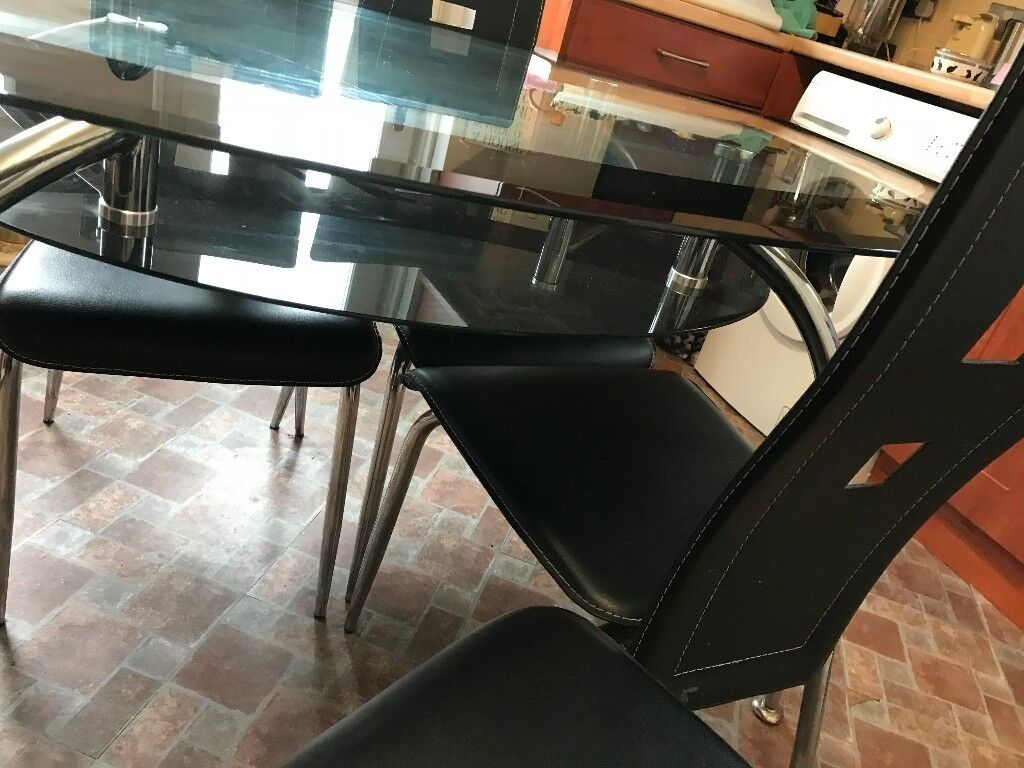 Large Glass Dining Table And Four Chairs