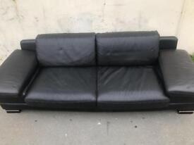 Plain black 2 seater leather sofa