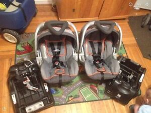 2 car seats, 2 bases and double stroller for sale
