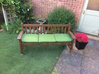 3-seater Garden Bench Cushion - green - £10