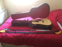 Acoustic guitar, case and accessories
