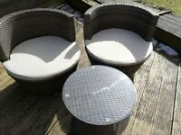 Pair rattan garden bucket chairs and table