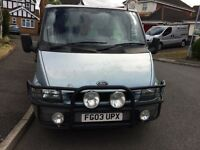 Ford transit t100 280 03 plate 1yrs mot. 3 seats, ply lined and bulkhead.