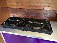 2x Technics SL 1210 MK2 Turntable + Lids + Slipmats - NEEDS ATTENTION FAULTY