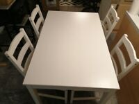IKEA white dining set - table and 4 chairs
