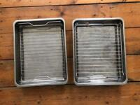 2 stainless steel grill pans / roasting tins / baking trays form Ikea