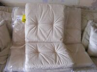 4 x -ECRU SAND GARDEN CHAIR CUSHIONS ELASTIC FASTENING USED ONCE EXCELLENT CONDITION