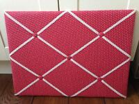 Padded Fabric Notice Memo Pin Board - Red Polka Dot - Shabby Chic Home