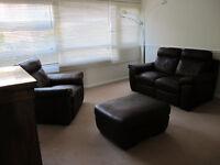 Reclining Italian Leather sofa & chair + stool