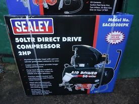 SEALEY 2HP COMPRESSOR 50 LTR TANK WITH 4 PCE AIR KIT
