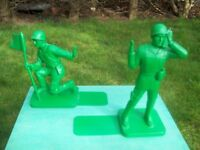 Pair Green Army Men 'Toy Soldier' Novelty Bookends. Inspired by Classic Toy Soldier Design.
