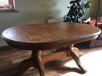 Farnhouse Oval extendable Kicthen table with 6 spindle back Pine Chairs, extends to 8 seater