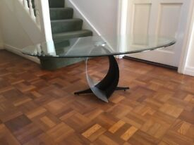 Glass and metal sculptural coffee table
