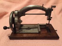 Rare Vintage Hand Sewing Machine - 1920's Salter's Ideal All Nickel Plated With Original Case
