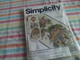 New counted cross stitch kit of a bell pull called summer small town.