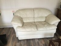 2seater cream leather sofa