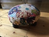 Vintage antique style small foot stool shabby chic