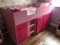 Girls Pink Cabin Bed/High Sleeper