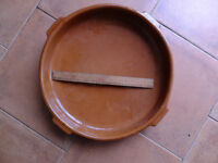 Spanish Earthenware Cazuela dish approx 33cm diameter